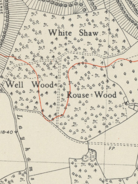 1938 Map showing the three woods